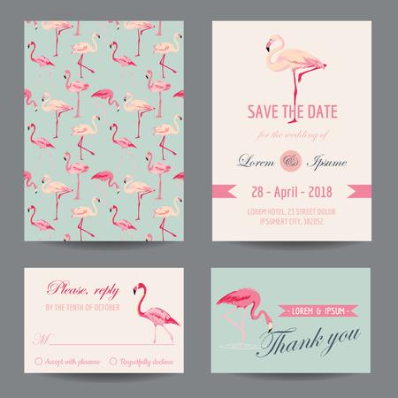 invitacion baby shower: Invitaci�n  Tarjeta Enhorabuena Set - Flamingo Theme - vector