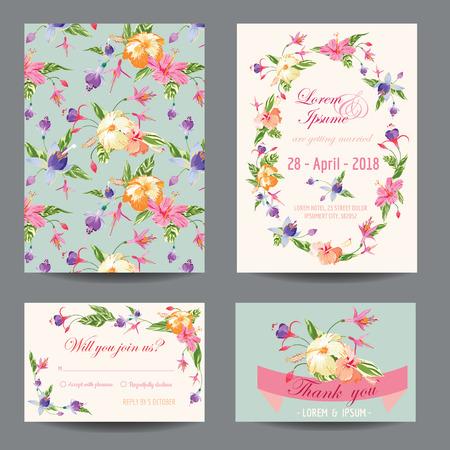 초대  축하 카드 세트 - 결혼식, 베이비 샤워 - 벡터 일러스트