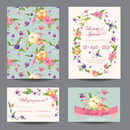greeting card: InvitationCongratulation Card Set - for Wedding, Baby Shower - in vector
