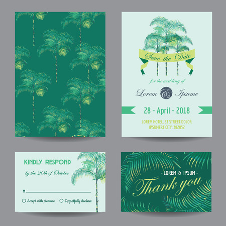 date palm: InvitationCongratulation Card Set - for Wedding, Baby Shower - in vector