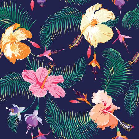 熱帯の花背景 - ヴィンテージのシームレスなパターン - ベクトル