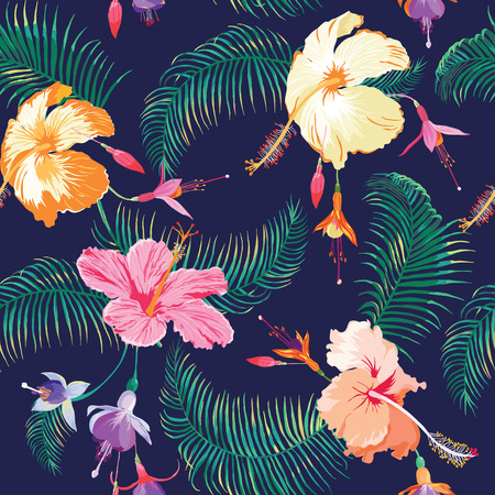 열대 꽃 배경 - 빈티지 원활한 패턴 - 벡터
