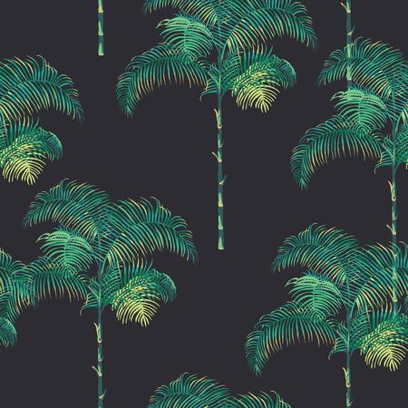 열 대 야자수 배경 - 빈티지 원활한 패턴 - 벡터