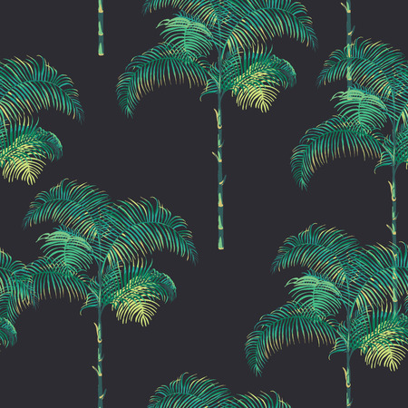 Tropical Palm Trees Background - Vintage Seamless Pattern - in vector
