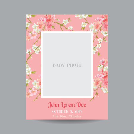 background stationary: Baby Arrival or Shower Card - with Photo Frame and Floral Blossom Design - in vector