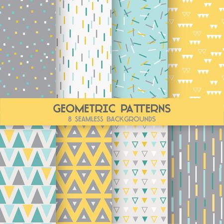 8 Бесшовные геометрические узоры - Текстура для обоев, фон, текстильной, записки - в вектор