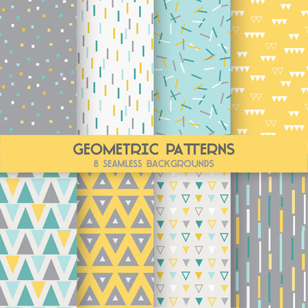 grunge border: 8 Seamless Geometric Patterns - Texture for wallpaper, background, textile, scrapbook - in vector
