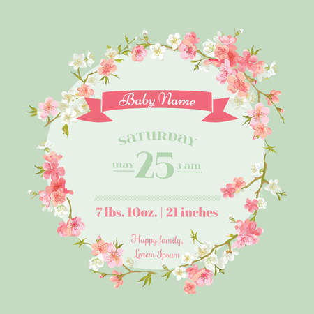 announcements: Baby Shower or Arrival Cards - with Spring Blossoms - in vector Illustration