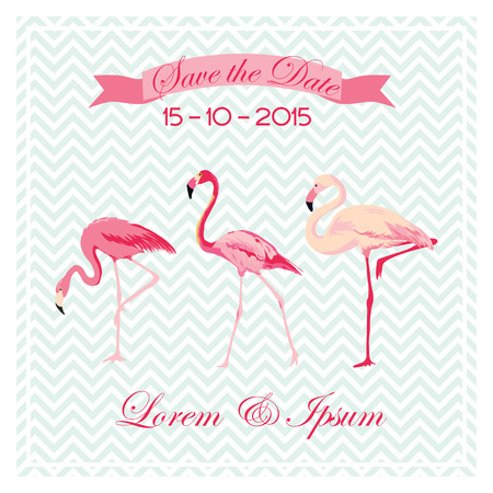 caligraphic: Save the Date - Wedding Card with Flamingo Birds - in vector