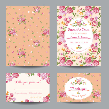 Invitation/Congratulation Card Set - for Wedding, Baby Shower - in vector Vettoriali
