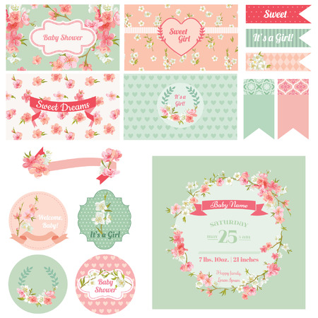 스크랩북 디자인 요소 - 베이비 샤워 꽃 테마 - 벡터 스톡 콘텐츠 - 37456170
