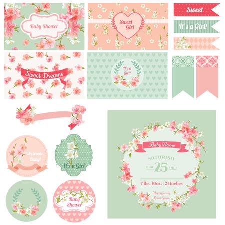 nacimiento bebe: �lbum de recortes elementos de dise�o - Baby Shower Flower Theme - vector