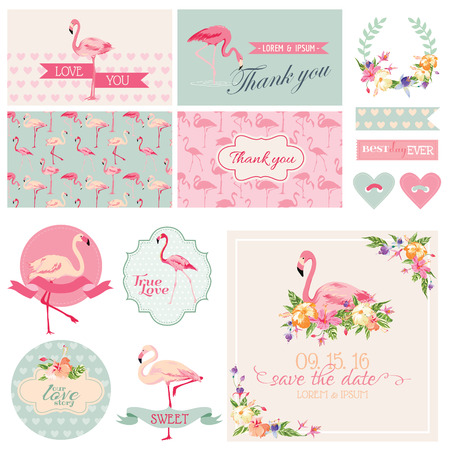scrapbook elements: Flamingo Party Set - for Wedding, Bridal Shower, Party Decoration - in vector