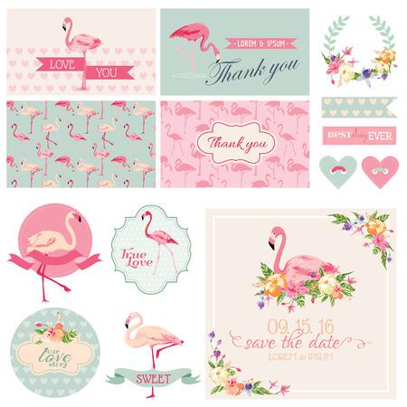 flamenco ave: Flamingo Party Set - para la boda, ducha nupcial, decoraci�n del partido - en el vector Vectores