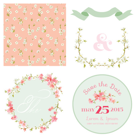 shabby chic: Spring Blossom Flowers Background - Seamless Floral Shabby Chic Pattern - in vector