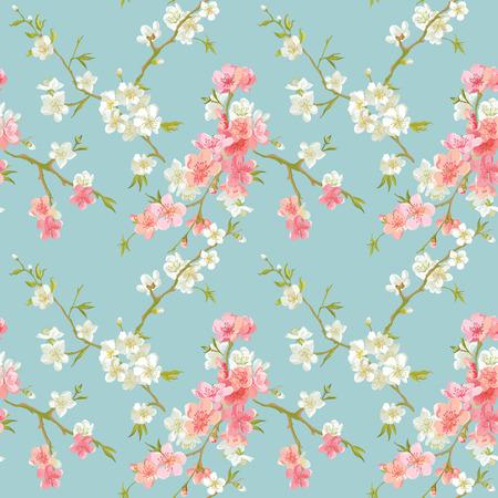 春の花の花の背景 - シームレスなみすぼらしいシックな花柄 - ベクトル