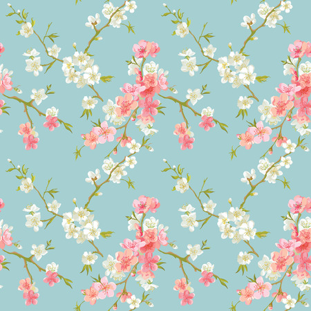 floral heart: Spring Blossom Flowers Background - Seamless Floral Shabby Chic Pattern - in vector