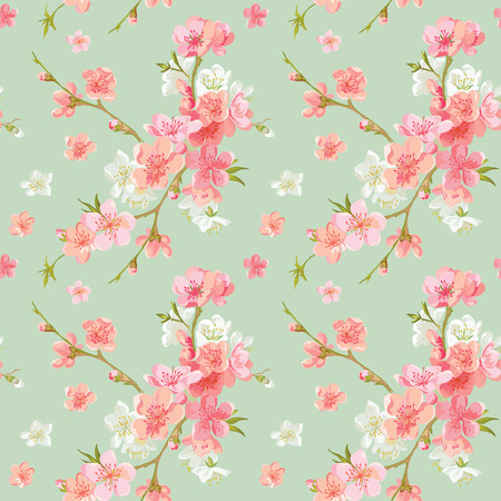 Spring Blossom Flowers Background - Seamless Floral Shabby Chic Pattern - in vettoriale Archivio Fotografico - 37456177