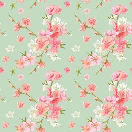 Spring Blossom Kwiaty t?o - Seamless Floral Shabby Chic Wz�r - w wektorze