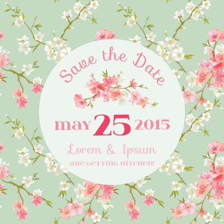 date: Wedding Invitation Card - with Floral Blossom Background - Save the Date - in vector