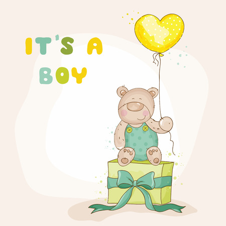 baby birth: Baby Shower or Arrival Card - with Baby Bear - in vector