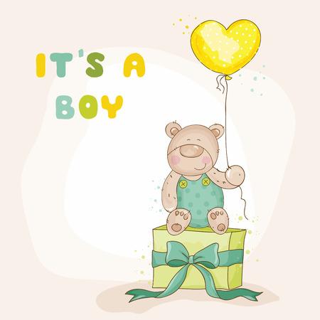 nacimiento de bebe: Ducha o de llegada del beb� Tarjeta - con Baby Bear - en el vector