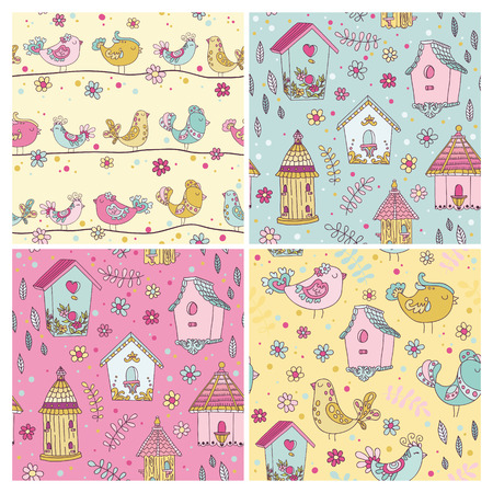 Set of Seamless Patterns - Cute Birds Backgrounds - in vector Vector