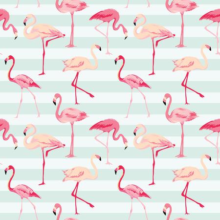 フラミンゴの鳥の壁紙 - ベクターでレトロなシームレス パターン