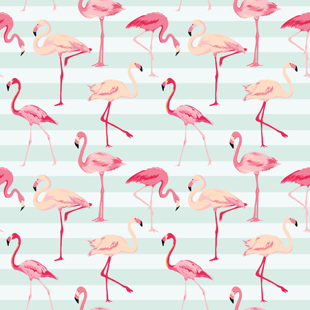 tropical bird: Flamingo Bird Background - Retro seamless pattern in vector Illustration