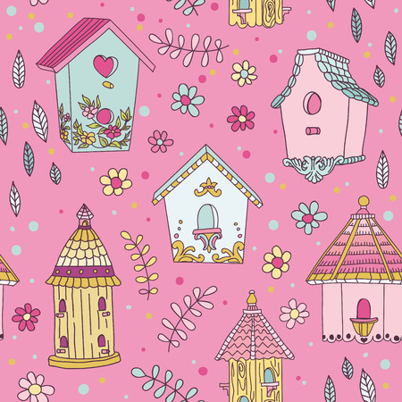 love my house: Cute Bird House Background - Seamless Pattern - in vector