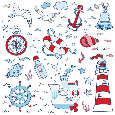 sea gull: Nautical Sea Design Elements - for scrapbook and design in vector