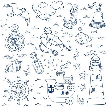 brig ship: Nautical Sea Design Elements - for scrapbook and design in vector