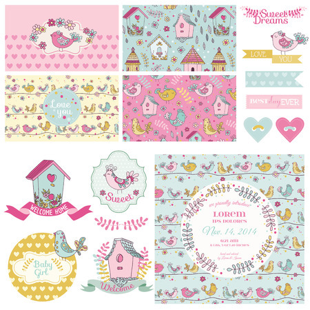 scrapbook: Cute Birt Party Set - for Baby Shower, Wedding, Party Decoration - in vector Illustration