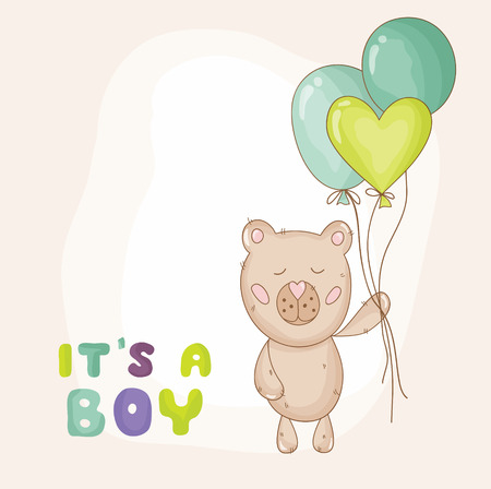 baby bear: Cute Baby Bear Background - Baby Shower or Arrival Card - in vector Illustration
