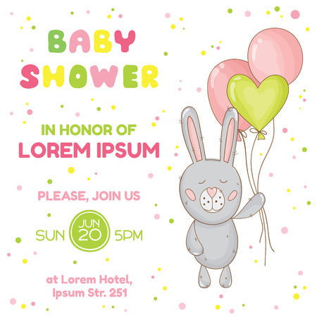 baby arrival: Baby Shower or Arrival Card - with Baby Bunny - in vector
