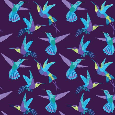 Hummingbird Background - Retro seamless pattern in vector