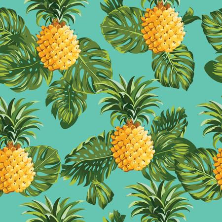 パイナップルと熱帯の葉の背景 - ヴィンテージのシームレスなパターン - ベクトル  イラスト・ベクター素材