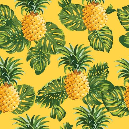 パイナップルとベクトルで熱帯の葉背景 - ヴィンテージのシームレスなパターン-