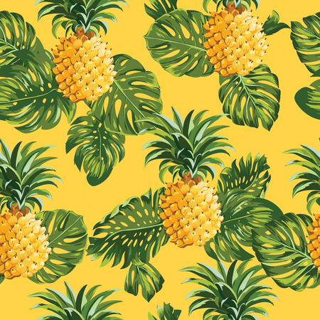 tropical fruits: Pinapples and Tropical Leaves Background -Vintage Seamless Pattern - in vector