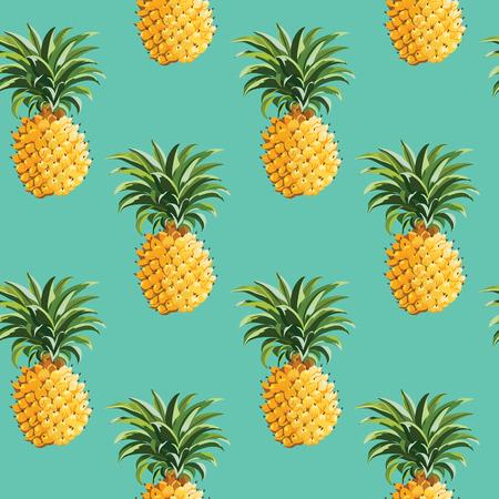 Ananasy i tropikalnych liści tle Vintage szwu w wektorze