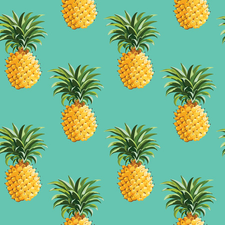 Pineapples and Tropical Leaves Background Vintage Seamless Pattern  in vector Çizim