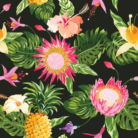 pineapples: Tropical Flowers Background - Vintage Seamless Pattern - in vector