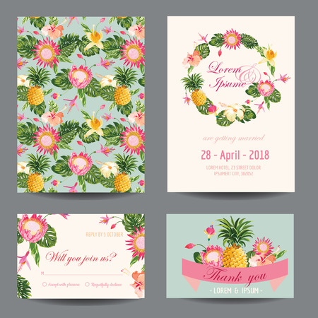 tropical garden: InvitationCongratulation Card Set - for Wedding, Baby Shower - in vector