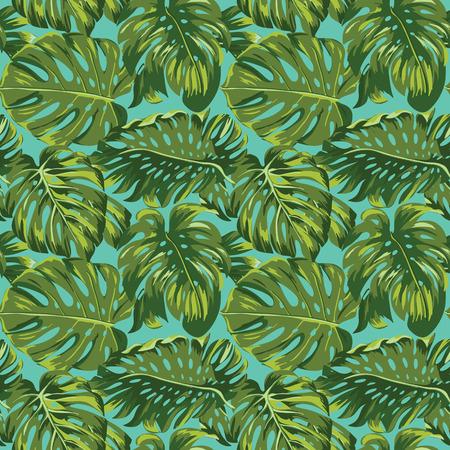 열대 잎 배경 - 원활한 패턴 - 벡터에