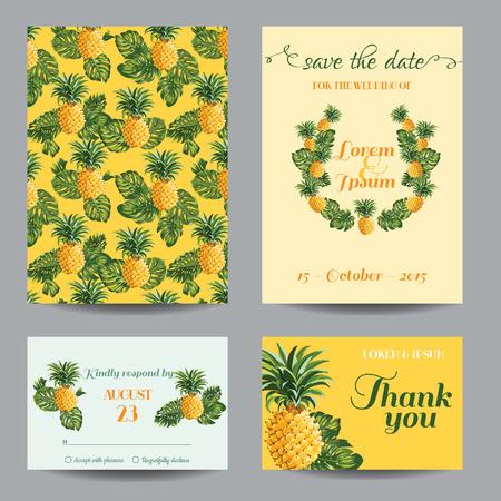 Einladung / Glückwunsch-Karte Set - für Hochzeit, Baby-Dusche - Vintage Ananas - in Vektor-