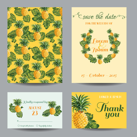 InvitationCongratulation Card Set - for Wedding, Baby Shower - Vintage Pineapples - in vector