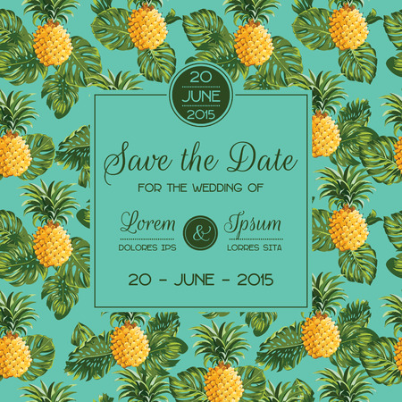 pineapples: Save the Date - Wedding Invitation Card - with Retro Pineapples - in vector