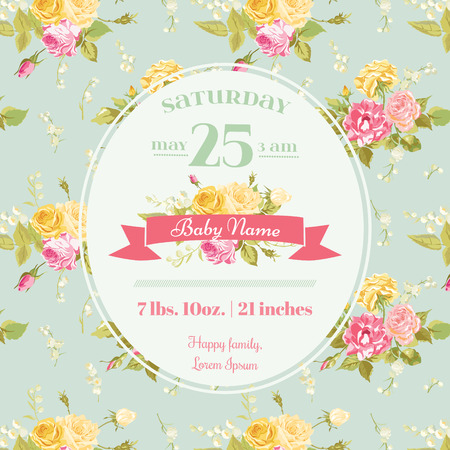baby boy announcement: Baby Arrival or Shower Card - with Floral Blossom Design Background - in vector