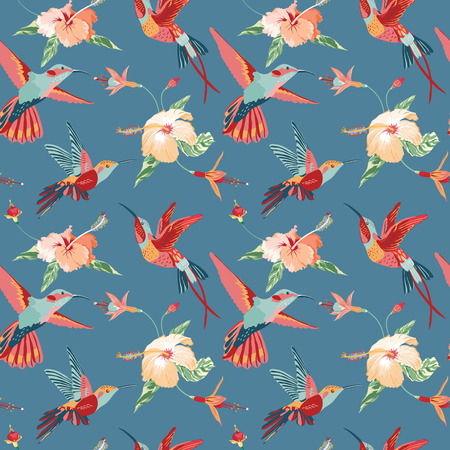 Hummingbird and Tropical Background - Retro seamless pattern in vector