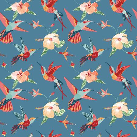 Kolibrie en tropische achtergrond - Retro naadloos patroon in vector